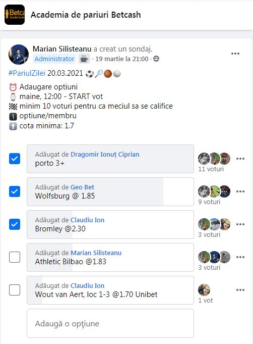 pariul zilei Facebook